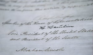 The signature of Abraham Lincoln is seen on the 13th Amendment in a display at the Tennessee State Museum in Nashville. The 13th Amendment, which abolished slavery, is on display along with the Emancipation Proclamation as part of an exhibit called Discovering the Civil War.