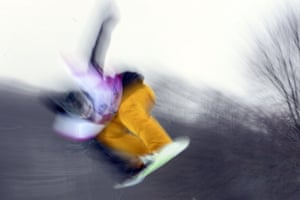 A snowboarder takes part in a training session during the Snowboarding World Cup Test Event at Snowboard and Free Style Center in Rosa Khutor near Sochi. Photograph: Javier Soriano/AFP/Getty Images
