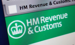 Computer screen showing the website for HM Revenue and Customs who deal with tax and VAT etc.