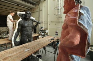 A Herkulian task: An artisan prepares a casting moulds on an original sculpture of Herkules at the Schlossbauhuette studio where a team of sculptors is creating decorative elements for the facade of the Berliner Schloss city palace in Berlin, Germany. The Berliner Schloss was the residence of the Prussian Kaiser and was among the major architectural landmarks of Berlin until it was heavily damaged by Allied bombing in 1945.