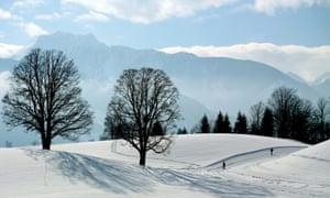 Winter idyll: People enjoy Nordic skiing near Ramsau am Dachstein, Austria.