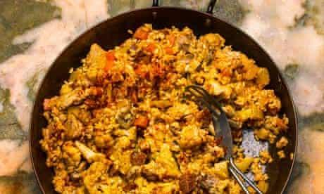 Rice with chicken and chorizo