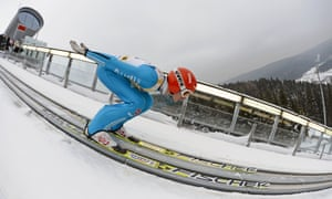 The longest jump: Richard Freitag of Germany starts during the training at the FIS Team Tour World Cup ski jumping in Klingenthal, eastern Germany. He won the qualification.