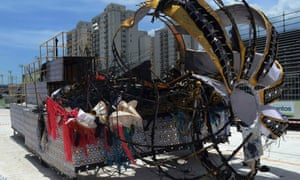 Disaster at the Carnival: The charred remains of a burnt float at the sambodrome in Santos, about 55 miles southeast of Sao Paulo. The float, which was parading for the Sangue Jovem samba school, caught fire after it struck a power line, killing four people.