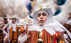 """One more young """"Gilles of Binche"""". Photograph: Geert Vanden Wijngaert/AP"""