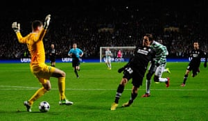 Tuesday Champions League: Alessandro Matri of Juventus shoots past Fraser Forster of Celtic
