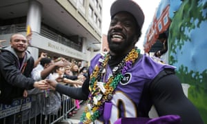 Ed Reed of Baltimore Ravens, 2013 Super Bowl Champions, walks the parade route aduring the Krewe of Zula parade on Fat Tuesday, the final day of Mardi Gras celebrations in New Orleans, Louisiana.