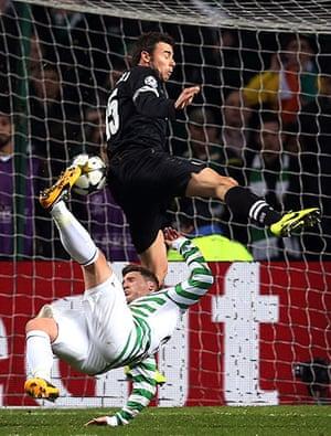 Tuesday Champions League2: Kris Commons tries an overhead kick