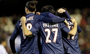 Paris St-Germain's Javier Pastore, centre, celebrates his goal against Valencia with Zlatan Ibrahimovic and Maxwell.