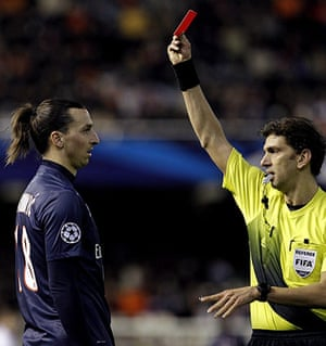 Tuesday Champions League2: Referee Paolo Tagliavento shows the red card to Zlatan Ibrahimovic