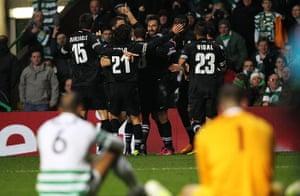 Tuesday Champions League3: Mirko Vucinic  celebrates scoring the third goal