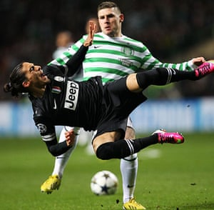 Tuesday Champions League3: Martin Caceres comes off worst in a tussle with Gary Hooper