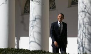 12 Feb 2013, Washington, DC, USA --- President Barack Obama walks down the colonnade at the White House, in Washington.