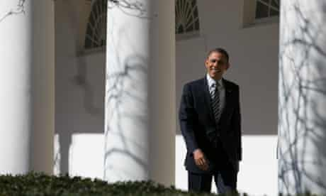 12 Feb 2013, Washington, DC, USA --- President Barack Obama walks down the colonnade at the White House, in Washington.