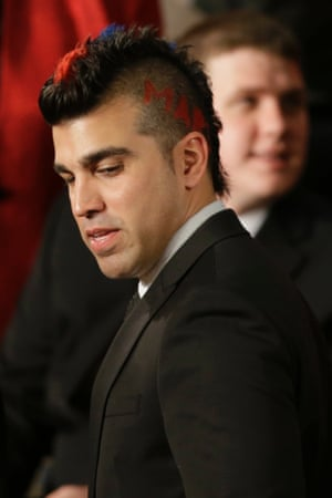 Bobak Ferdowsi, flight director of the Mars Curiosity Rover, arrives as a guest of first lady Michelle Obama for the state of the union address.