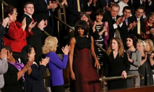 First lady Michelle Obama arrives for the 2013 state of the union address.