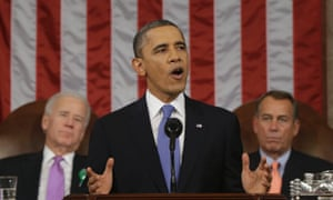 US president Barack Obama, flanked by vice president Joe Biden and House speaker John Boehner gives the first state of the union address of his second term.