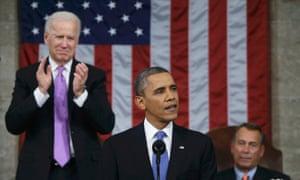 US vice president Joe Biden applauds during Barack Obama's state of the union address.