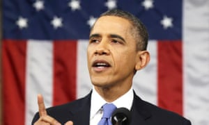 Barack Obama giving the state of the union address.