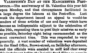 Guardian article Valentine's Day cards 1881