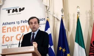 Greek prime minister Antonis Samaras at the pipeline signing ceremony in Athens. Photograph: AP Photo/Petros Giannakouris