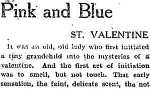 Guardian column on Valentine's cards 1926