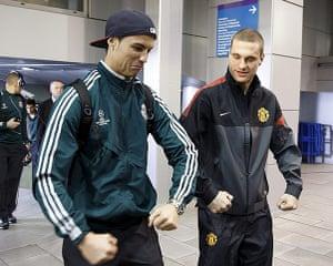 Real v United: Cristiano Ronaldo and Nemanja Vidic