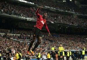 Real v United: Manchester United's striker Danny Welbeck celebrates