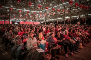 Cantonese opera: Spectators wait for the start of the show