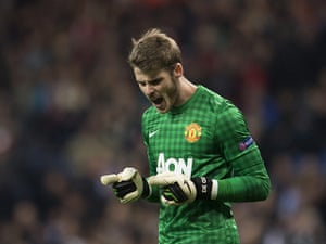 Real Madrid V United 4:  David de Gea savours the result after the final whist;e