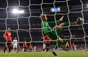 Real Madrid V United 4: David De Gea of Manchester United makes a save with his foot