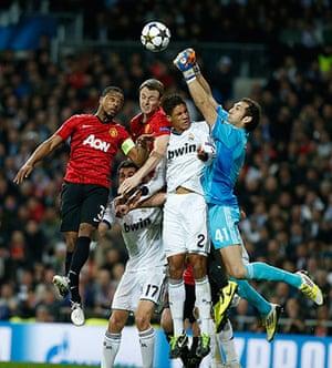 Real Madrid V United 4: Patrice Evra, Jonny Evans and Raphael Varan, goalkeeper Diego Lopez