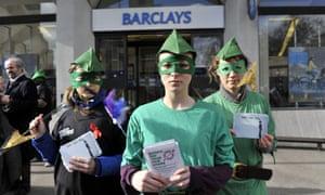 Robin Hood Tax campaigners outside Barclays.