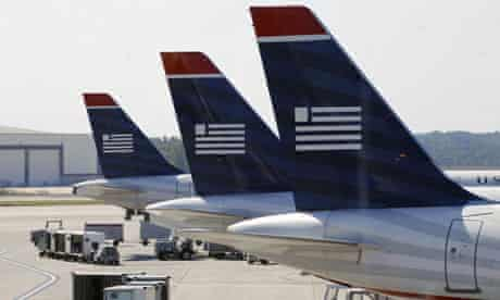 US Airways jets on a runway