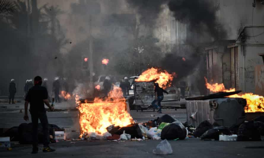 Bahraini protesters clash with security forces following a rally to mark the second anniversary of an uprising in the kingdom.