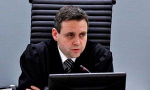 Norwegian judge Jonas Petter Madsoe sentences Sadi Bugingo for his role in the 1994 genocide