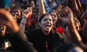 Indian women shout slogans during an event to support the One Billion Rising global campaign in Hyderabad, India. The One Billion Rising is a movement to end violence against women and girls.