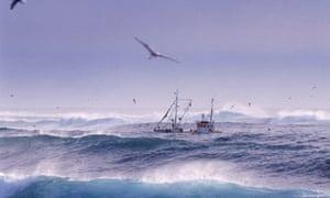 Fishing trawler in North Atlantic ocean, Iceland. Photograph: Alamy