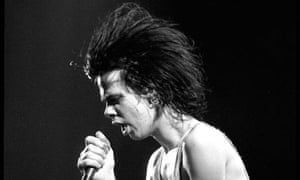 Nick Cave onstage with The Birthday Party, 1981.