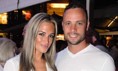 South African sprinter Oscar Pistorius pictured with his girlfriend Reeva Steenkamp in Johannesburg