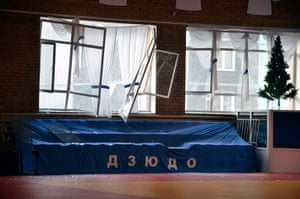 meteorites in Russia: Broken windows and debris are seen inside a sports hall