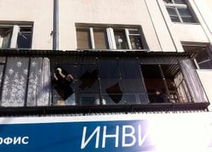 meteorites in Russia: broken window in Chelyabinsk