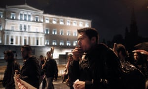 Greek university students during a protest against educational reforms in central Athens last night.