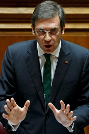 Portuguese prime minister Pedro Passos Coelho at parliament in Lisbon this morning.