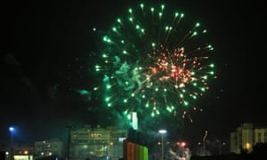 Fireworks explode in the sky during celebrations held in preparation for the upcoming commemoration ceremony of the second anniversary of the revolt against Muammar Gaddafi, in Benghazi.