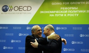 OECD secretary general Angel Gurria and Russian finance minister Anton Siluanov (on the right) at the G20 finance ministers meeting in Moscow today.