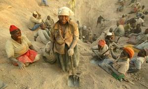 Zimbabwean women mining for diamonds in the Marange region in 2006.