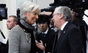IMF chief Christine Lagarde and Bank of England governor Mervyn King. Photograph Reuters/Maxim Shemetov