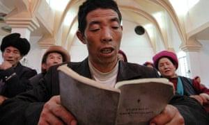 Tibetan Catholics in a church