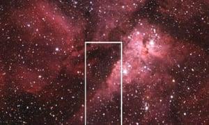 Asteroid 2012 DA14 and the Eta Carinae Nebula, with the white box highlighting the asteroid's path